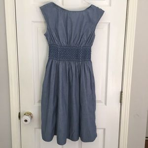 🇺🇸kate spade chambray smocked dress SZ 6